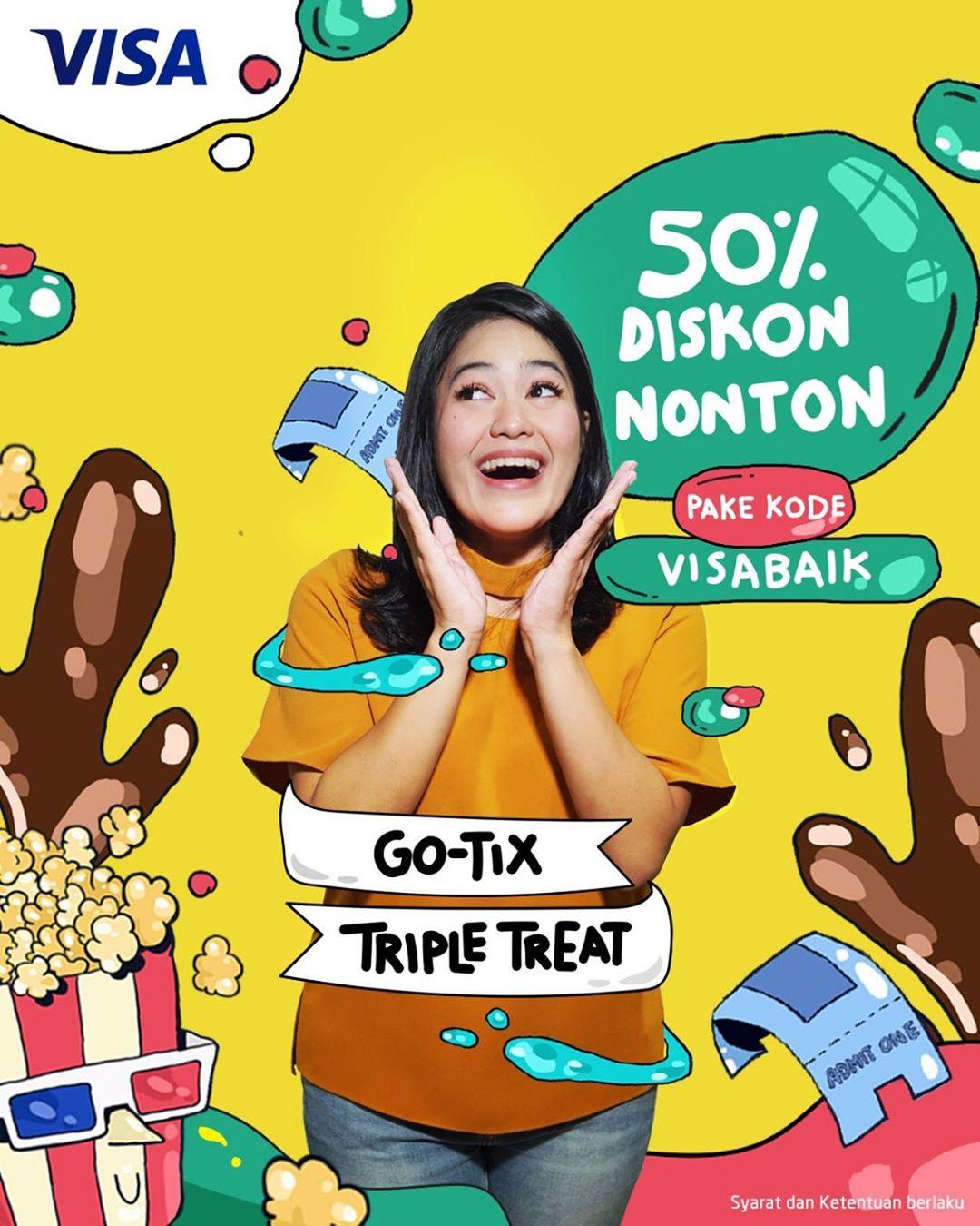 GOTIX Promo DISKON 50% buat beli tiket nonton film dengan kartu kredit/debit berlogo VISA