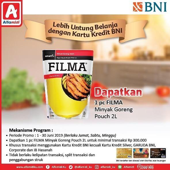 ALFAMIDI Promo Gratis 1pc Filma Minyak Goreng Pouch 2 Liter dengan Kartu Kredit BNI