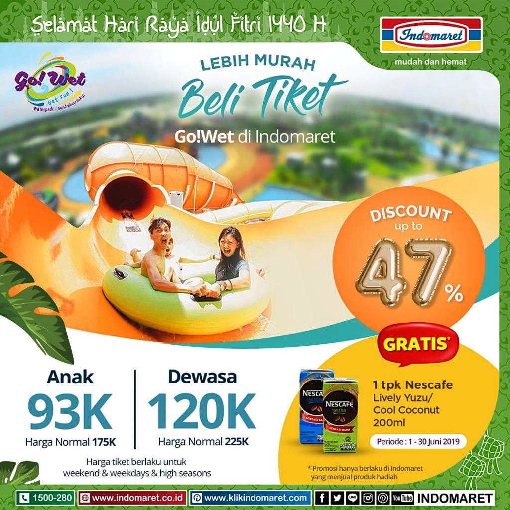 GO WET WaterPark Promo Beli Tiket di Indomaret Discount Up to 47% + Gratis Minuman