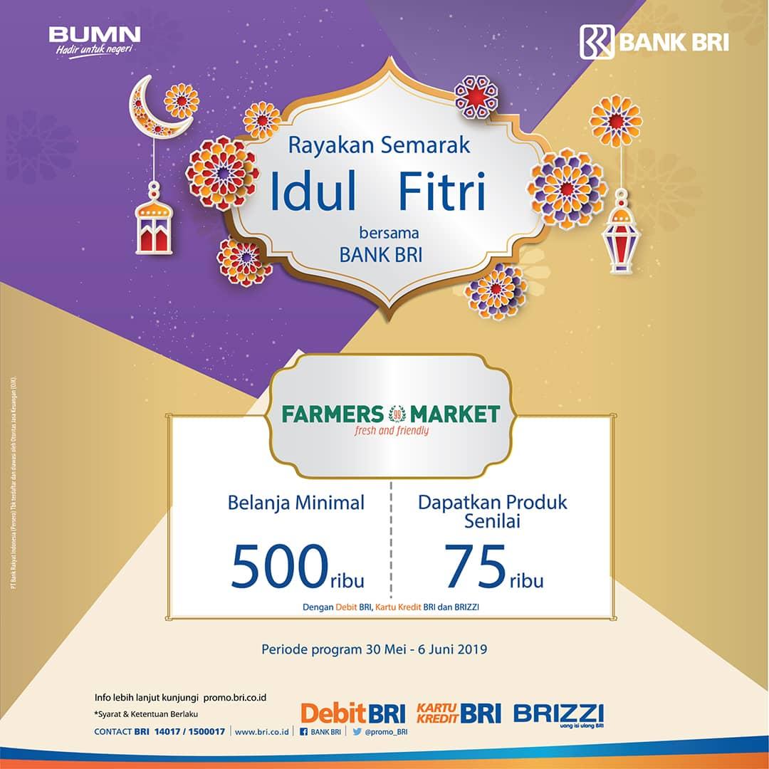 Farmers Market Promo Gratis Voucher Rp.75.000 dengan Debit BRI, Kartu Kredit BRI, BRIZZI