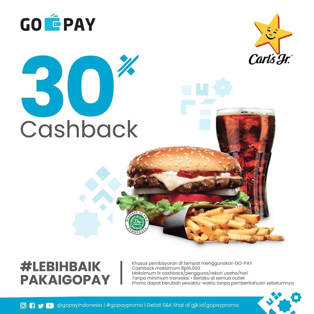 CARLS JR Promo Cashback 30% untuk transaksi dengan GOPAY