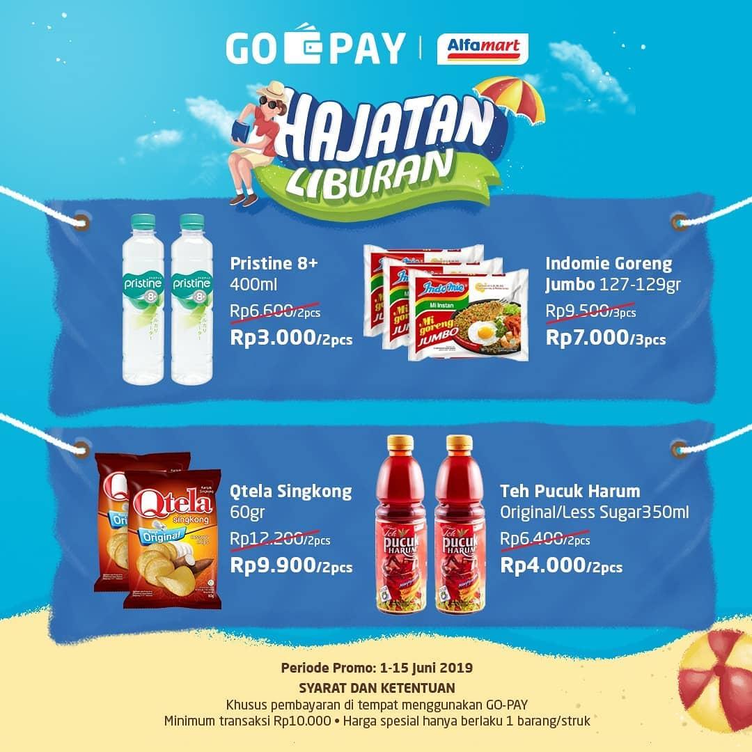 Diskon ALFAMART promo HAJATAN LIBURAN Belanja Pakai GoPay dapat Harga Spesial