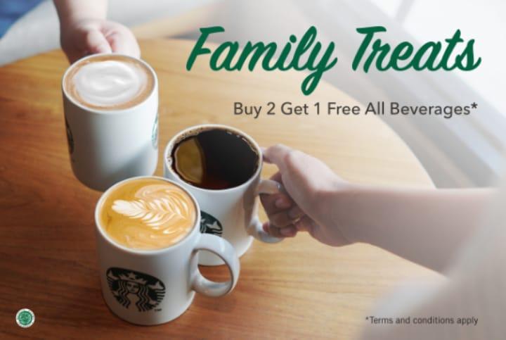 Starbucks Promo Family Treat, Buy 2 Get 1 Free