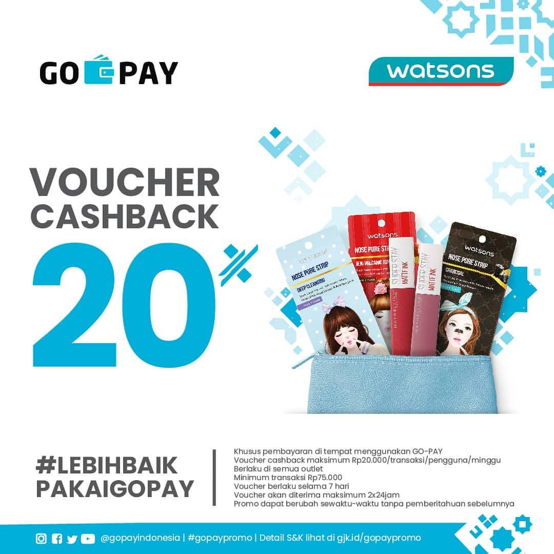 Diskon WATSONS Promo GOPAY Cashback 20%