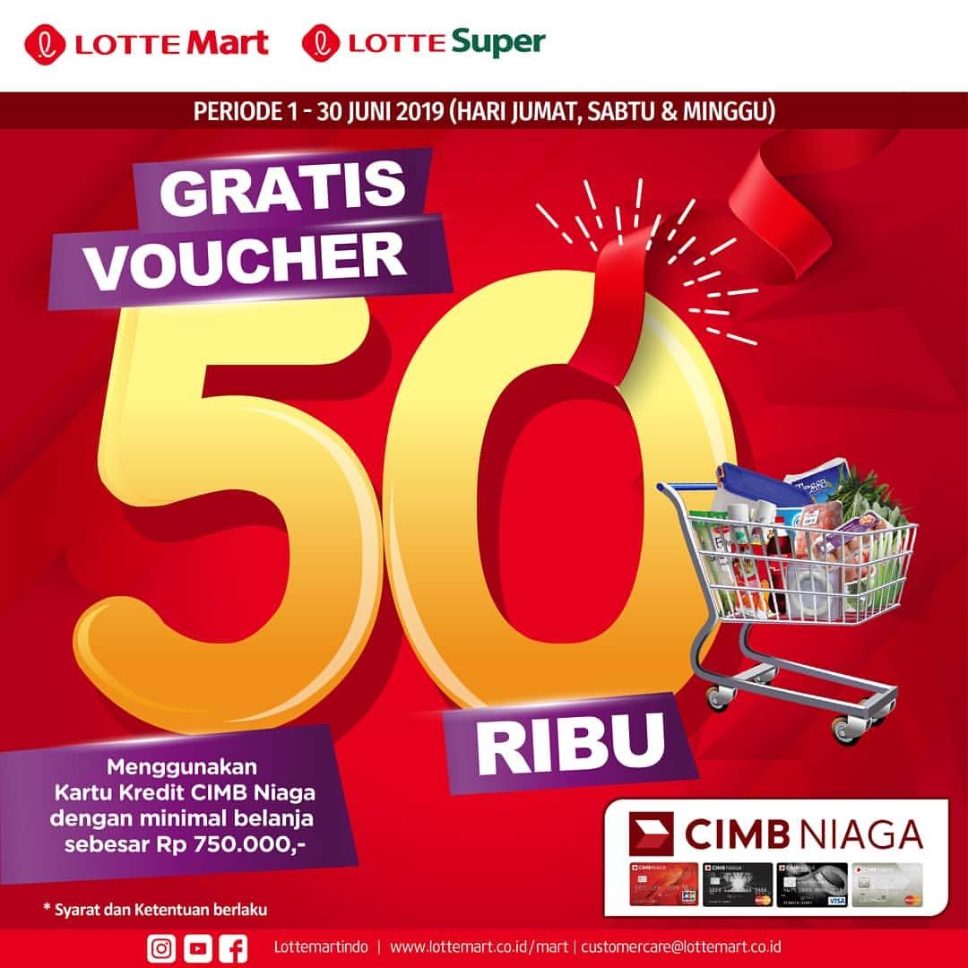 LOTTEMART Promo Gratis Voucher Rp.50.000 dengan Kartu Kredit CIMB NIAGA