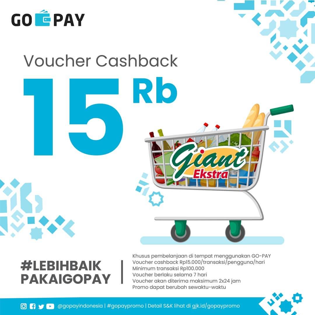 Diskon GIANT EKSPRES dan GIANT EKSTRA Promo Gratis Voucher Cashback Rp.15.000 dengan GOPAY