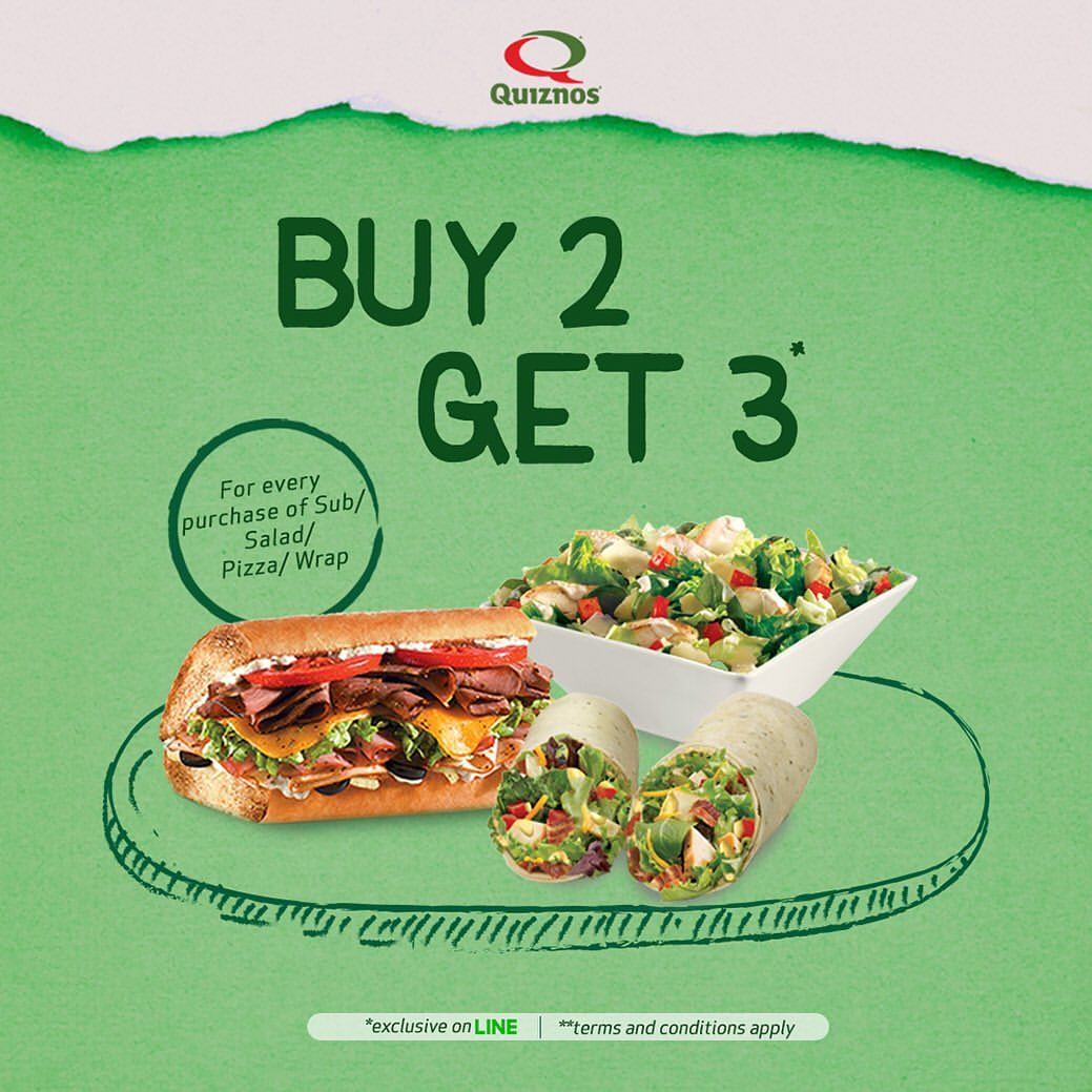 QUIZNOS Promo Buy 2 Get 1 FREE all items dengan KUPON LINE