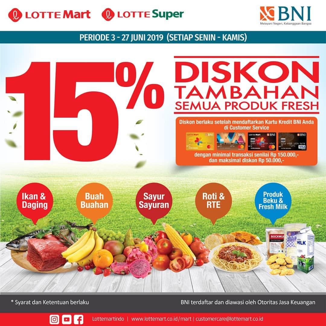 Diskon LOTTEMART RETAIL Promo Diskon Tambahan 15% untuk Produk Fresh dengan Kartu Kredit BNI setiap hari Se