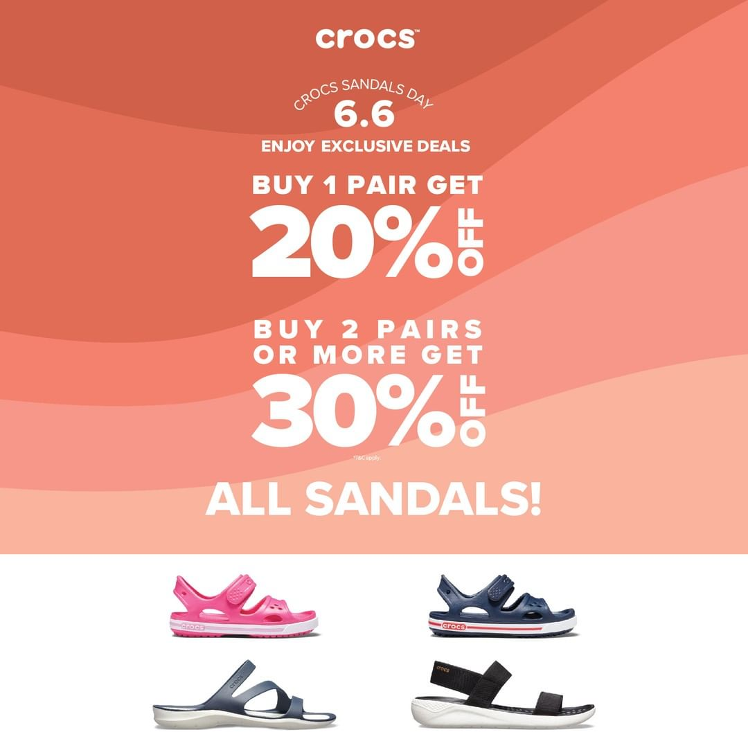 Diskon CROCS Sandals Day Buy More Save More up to 30% off
