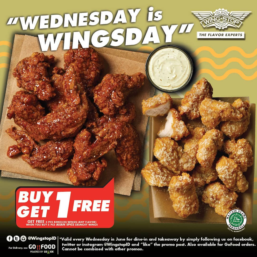 Diskon WINGSTOP Wednesday is Wingsday Free 5 Boneless Wings With Purchase Of 5 Asian Spice Crunchy Wings