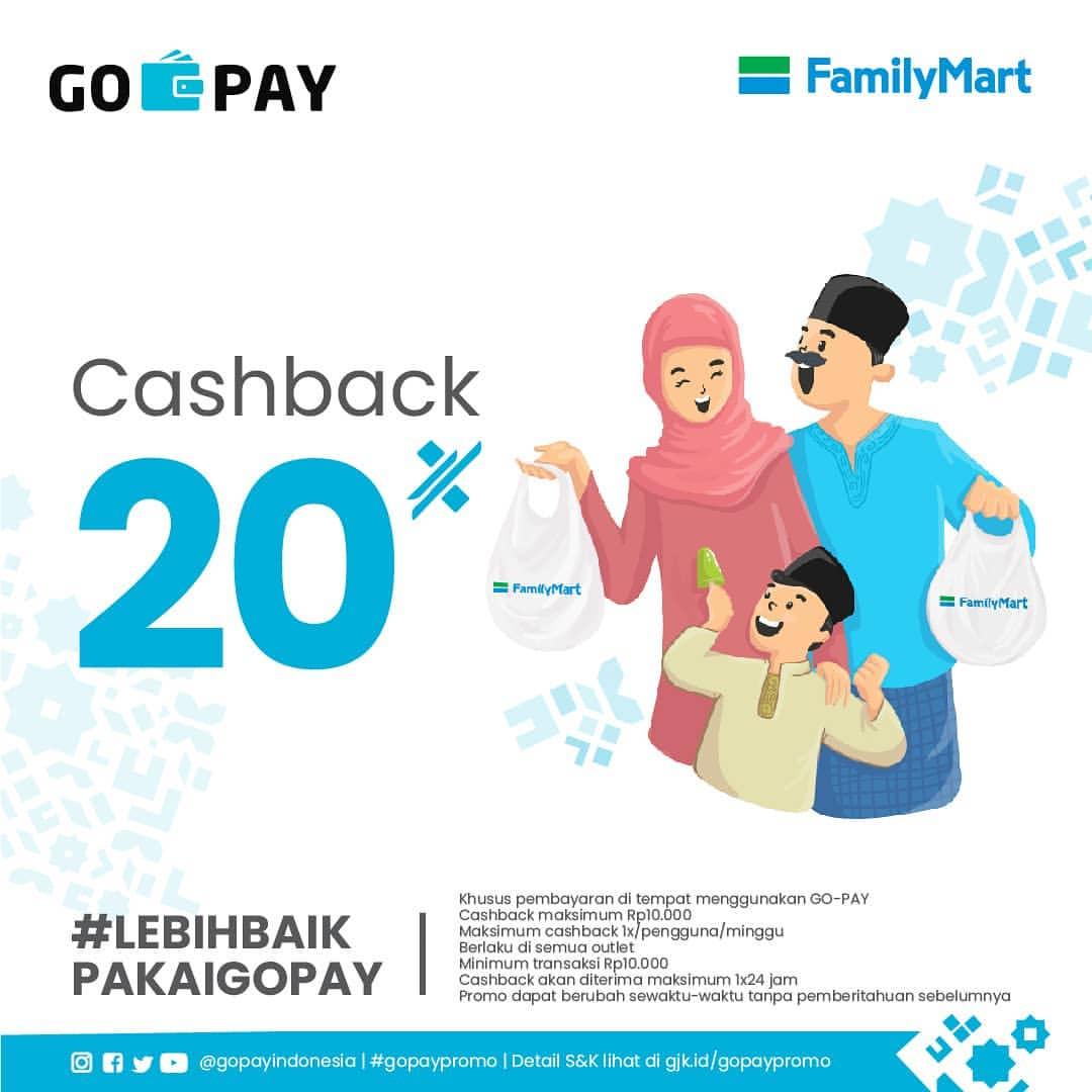 Diskon FamilyMart Promo Cashback 20% dengan GoPay