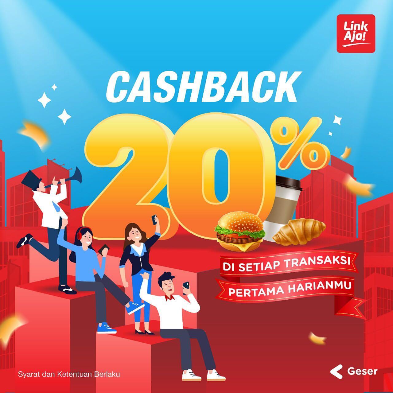 LINKAJA Promo Cashback 20% setiap transaksi pertama harianmu