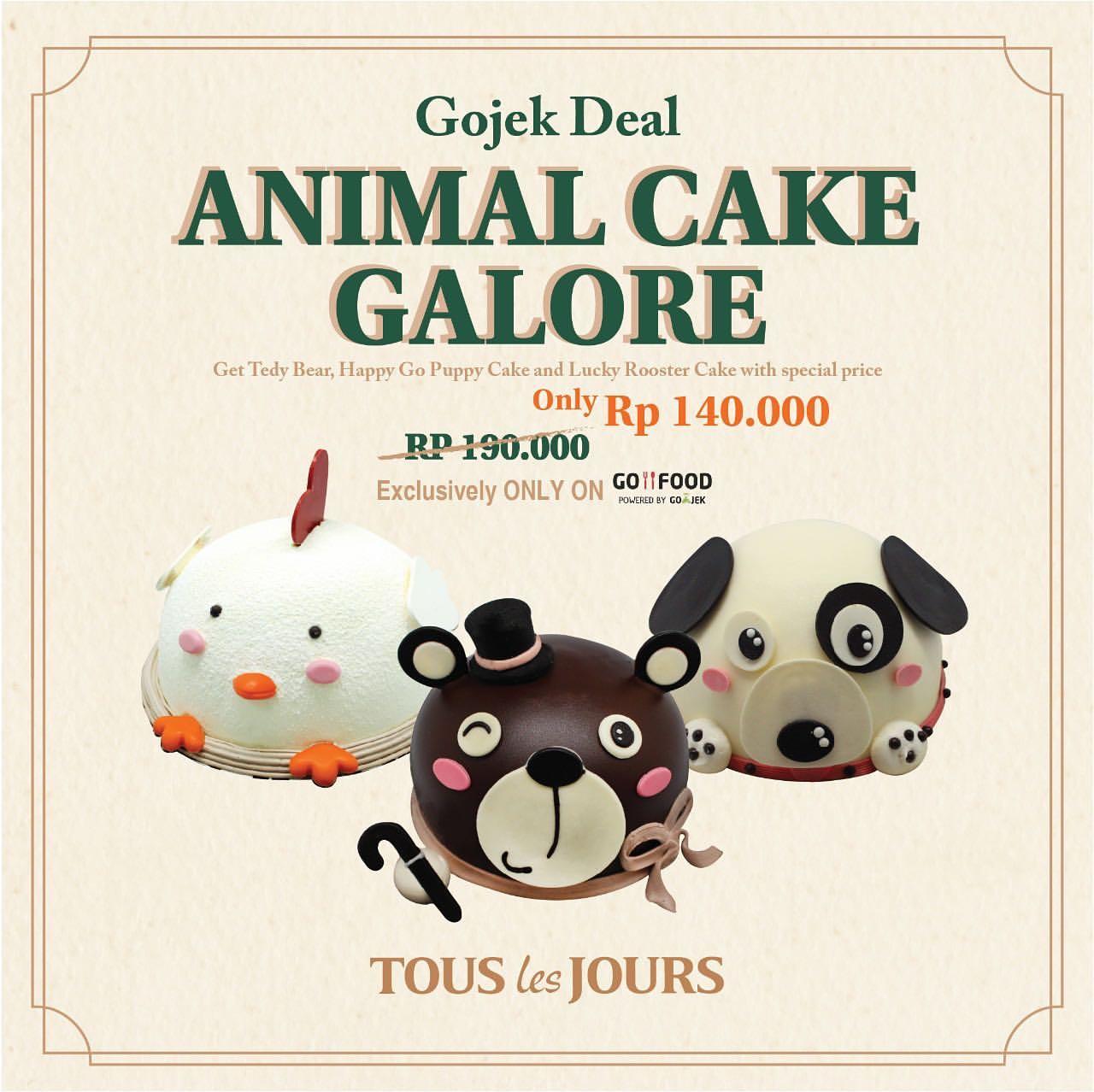 TOUS LES JOURS Animal Cake Galore Diskon 25% khusus Animal Character Cake via GOFOOD