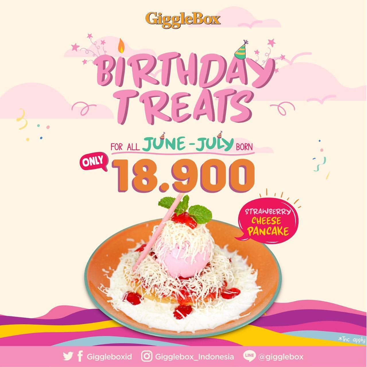 Diskon GIGGLE BOX Birthday Treats Promo Strawberry Cheese Pancake only Rp.18.900
