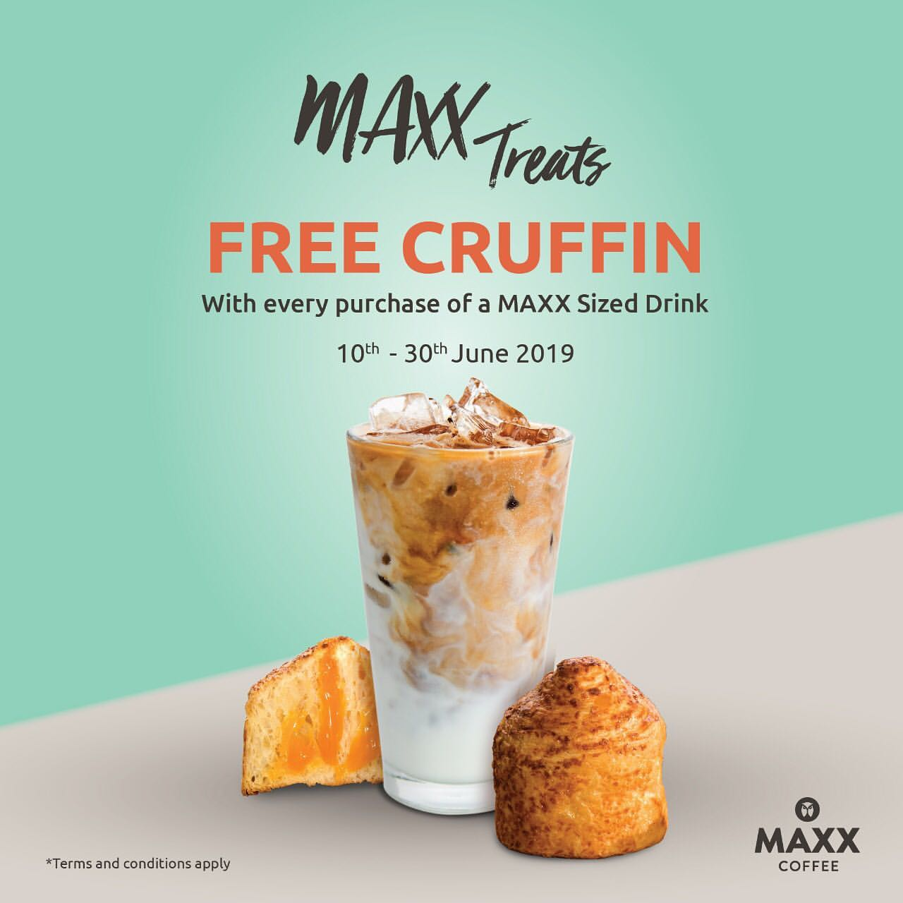 MAXX COFFEE Promo FREE Cruffin with every purchase of a Maxx sized beverage