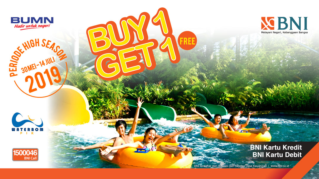 WATERBOM JAKARTA Promo BUY 1 GET 1 FREE dengan Kartu Debit/Kartu Kredit BNI