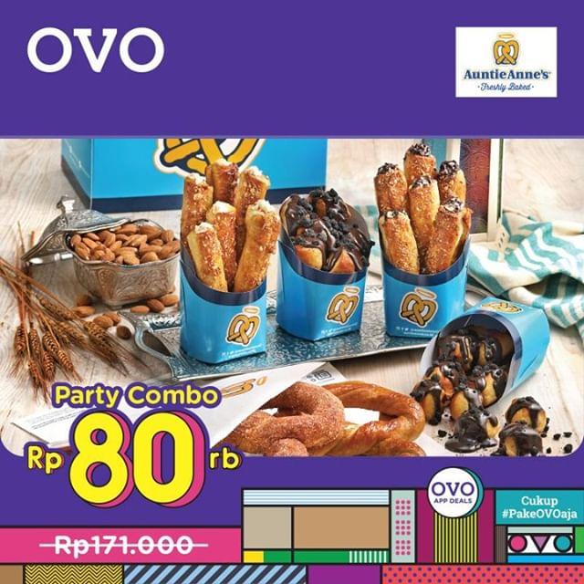 Auntie Anne's Promo Voucher Paket Party Combo Pretzel hanya Rp.80.000 dengan OVO