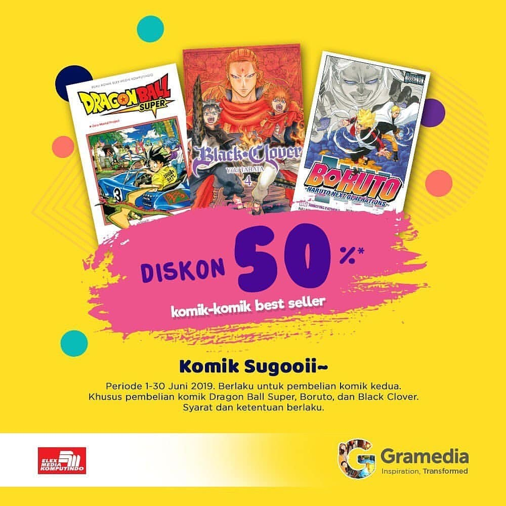 Gramedia Promo Diskon 50% untuk Komik-Komik Best Seller