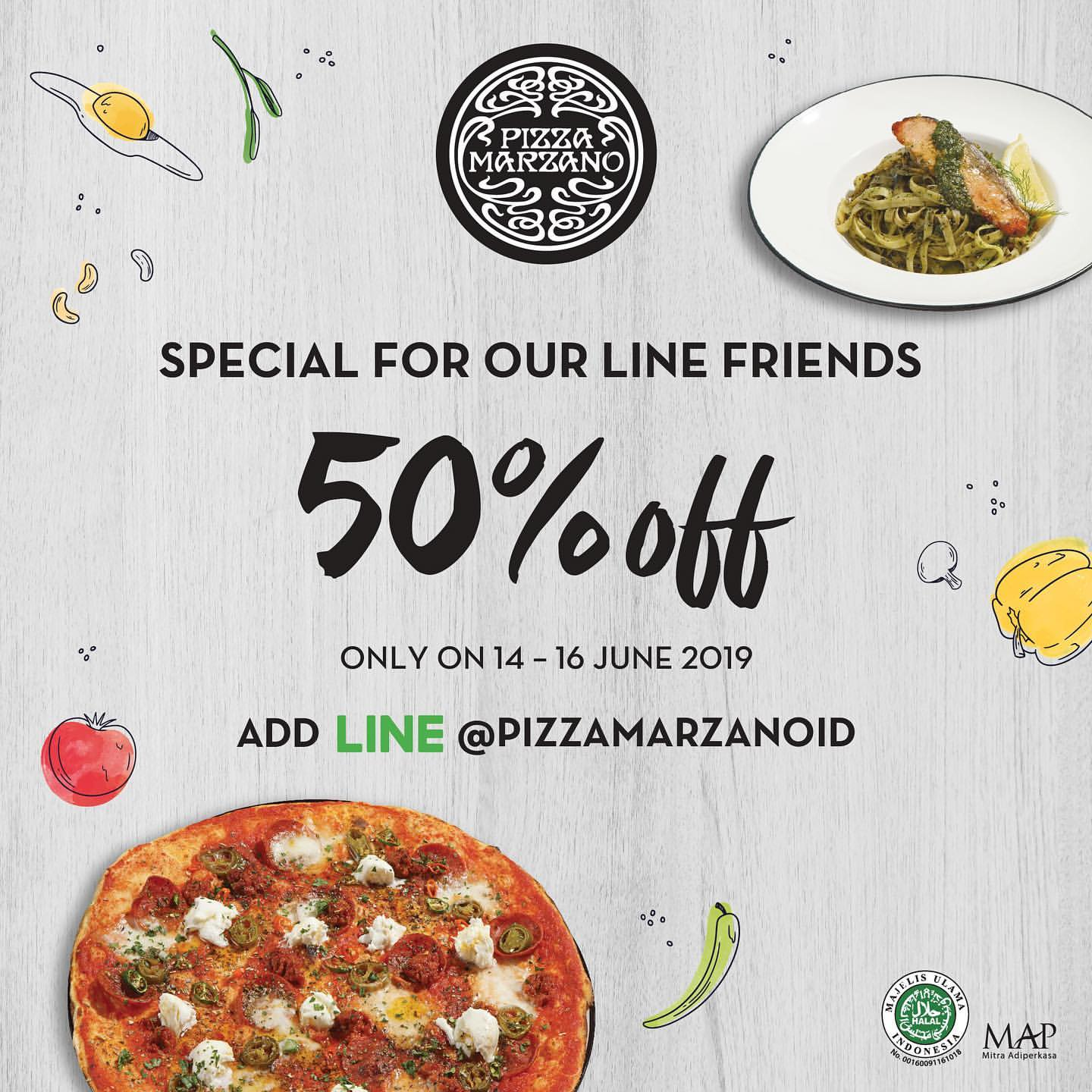 PIZZA MARZANO Promo Discount 50% Off Dengan Kupon LINE