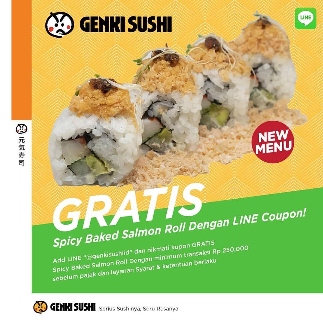 GENKI SUSHI Promo Free Spicy Baked Salmon Roll Dengan Kupon LINE