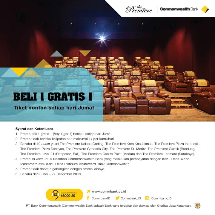 Cinema XXI Promo Commonwealth Bank, Buy 1 Get 1 Free