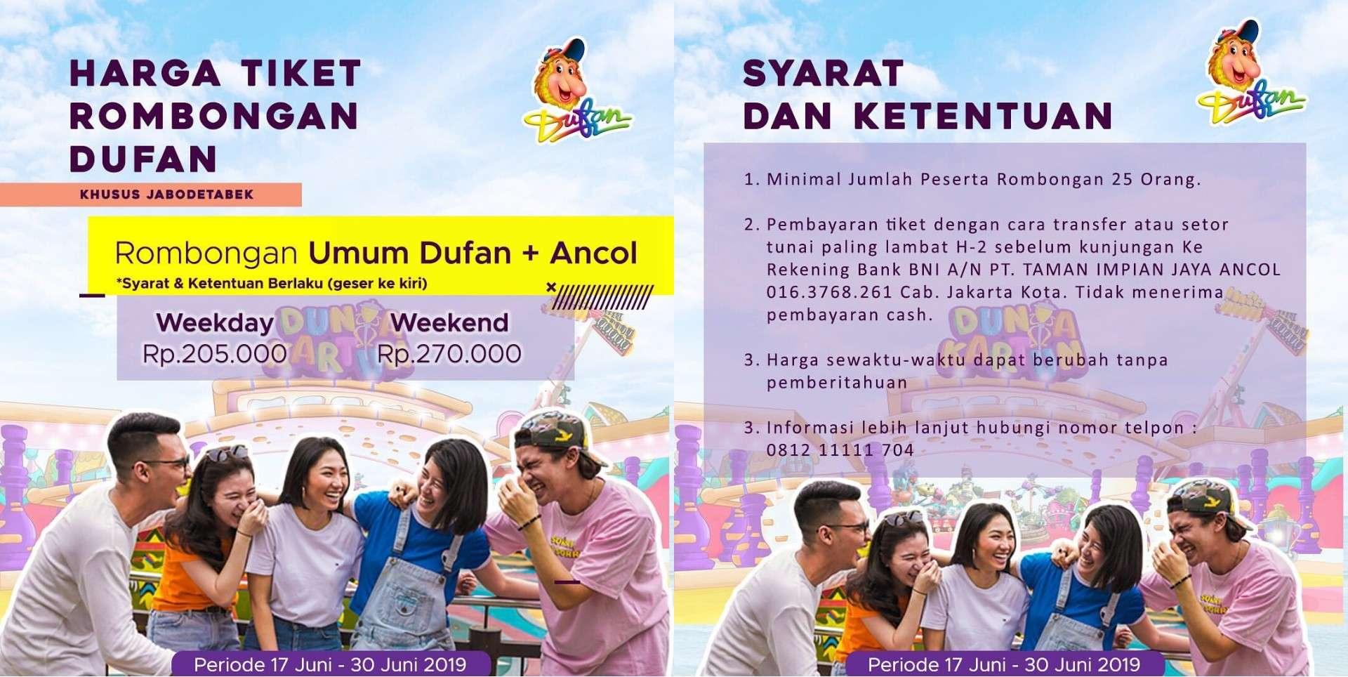 Diskon Ancol Dufan Promo Lebih Rame Lebih Hemat, Harga Mulai Rp. 205.000