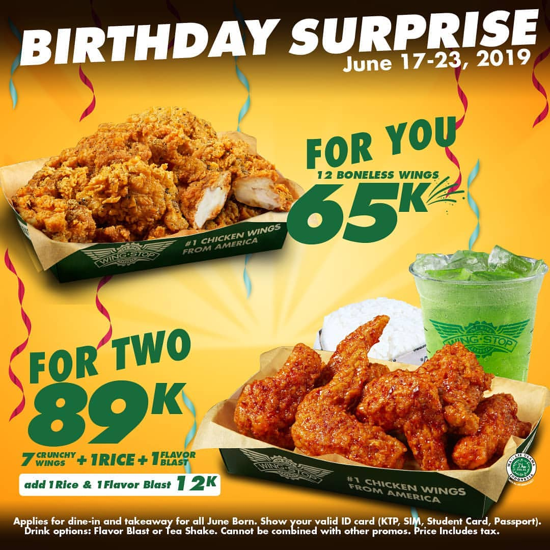 Diskon WINGSTOP BIRTHDAY SURPRISE 12 Boneless Wings Rp.65.000 atau 7 Crunchy Wings+ Rice + Flavor Blast Han