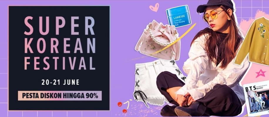Lazada Promo Super Korean Festival, diskon hingga Hingga 90%