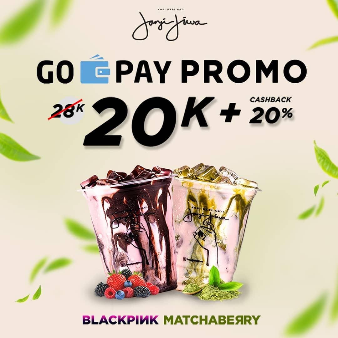 Diskon Kopi Janji jiwa GOPAY Promo Harga Spesial 20K untuk Blackpink & Matchaberry + Cashback 20%