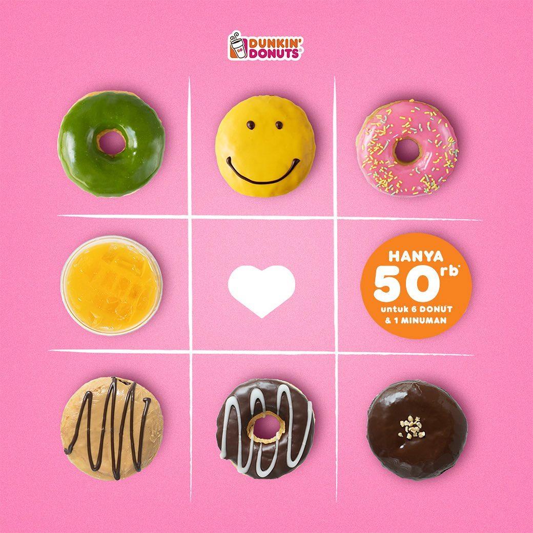 DUNKIN DONUTS Promo Paket 6 DONUT dan 1 MINUMAN DINGIN dengan KUPON LINE