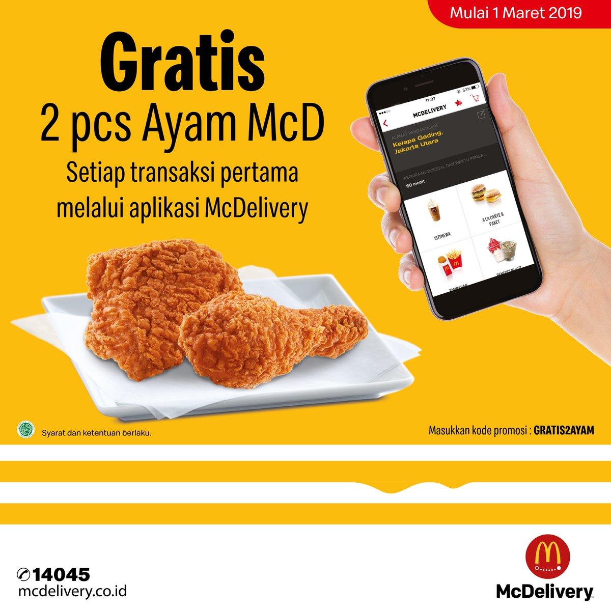 MCDONALDS Promo GRATIS 2 AYAM McD untuk pemesanan pertama melalui Aplikasi McDelivery