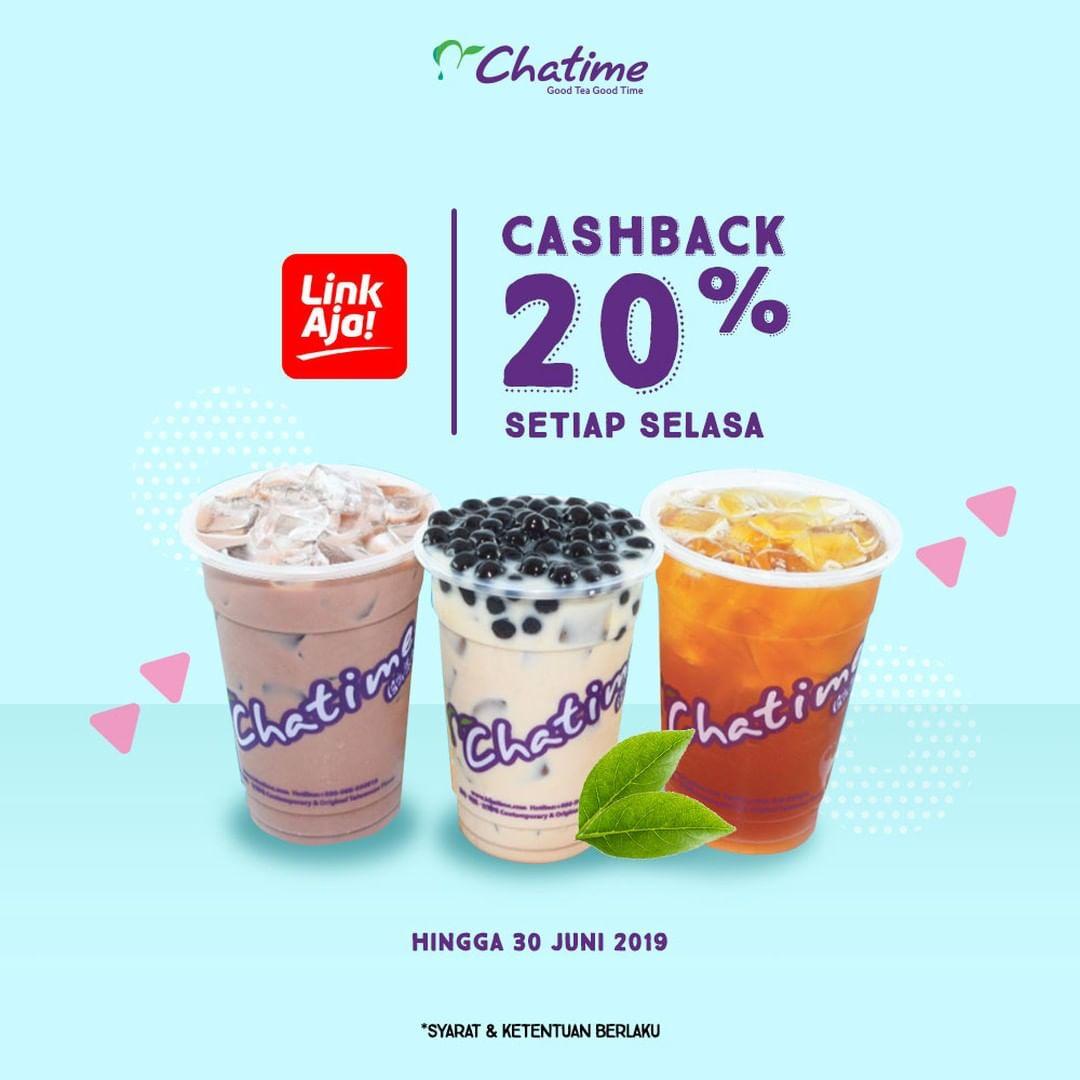 CHATIME Promo Cashback 20% pake Link Aja