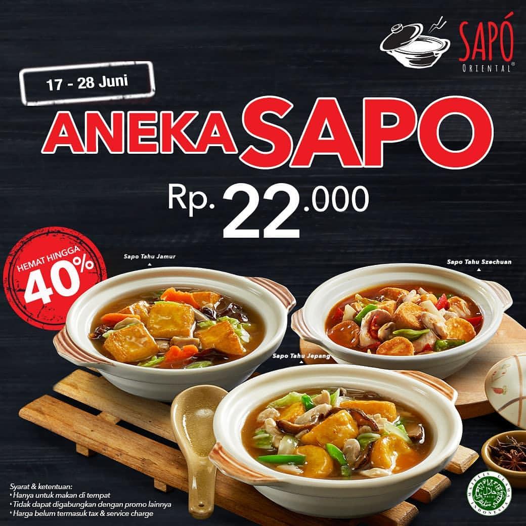 Diskon SAPO ORIENTAL Promo Harga Spesial untuk 3 pilihan menu Sapo favorit Hanya Rp.22.000