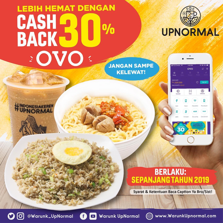 Warunk Upnormal Promo CASHBACK 30% dengan OVO