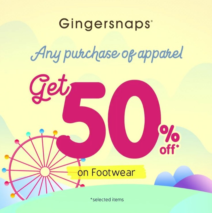 GINGERSNAPS Get Discount 50% Off With Any Purchase of Apparel on Footwear