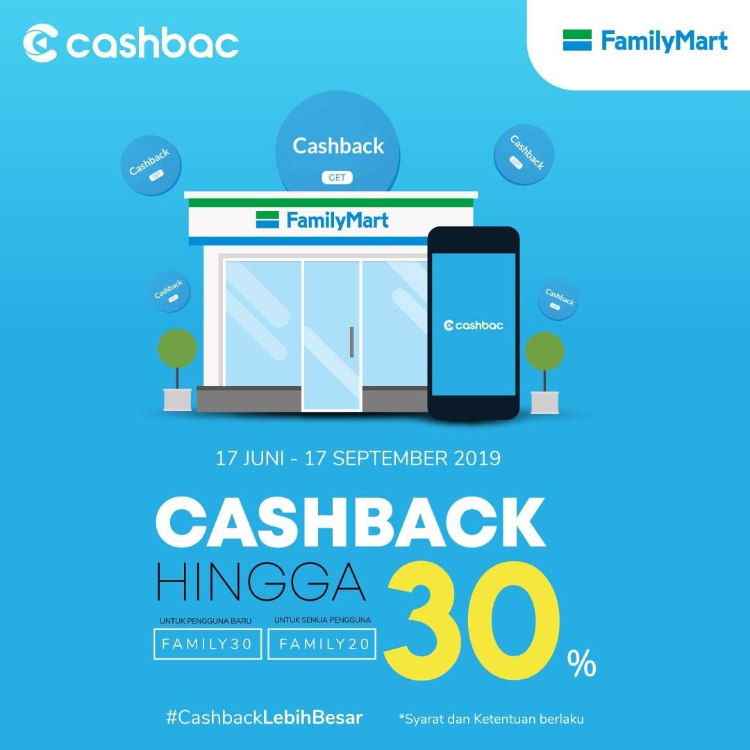 FamilyMart Promo CASHBACK 30% dengan CASHBAC App