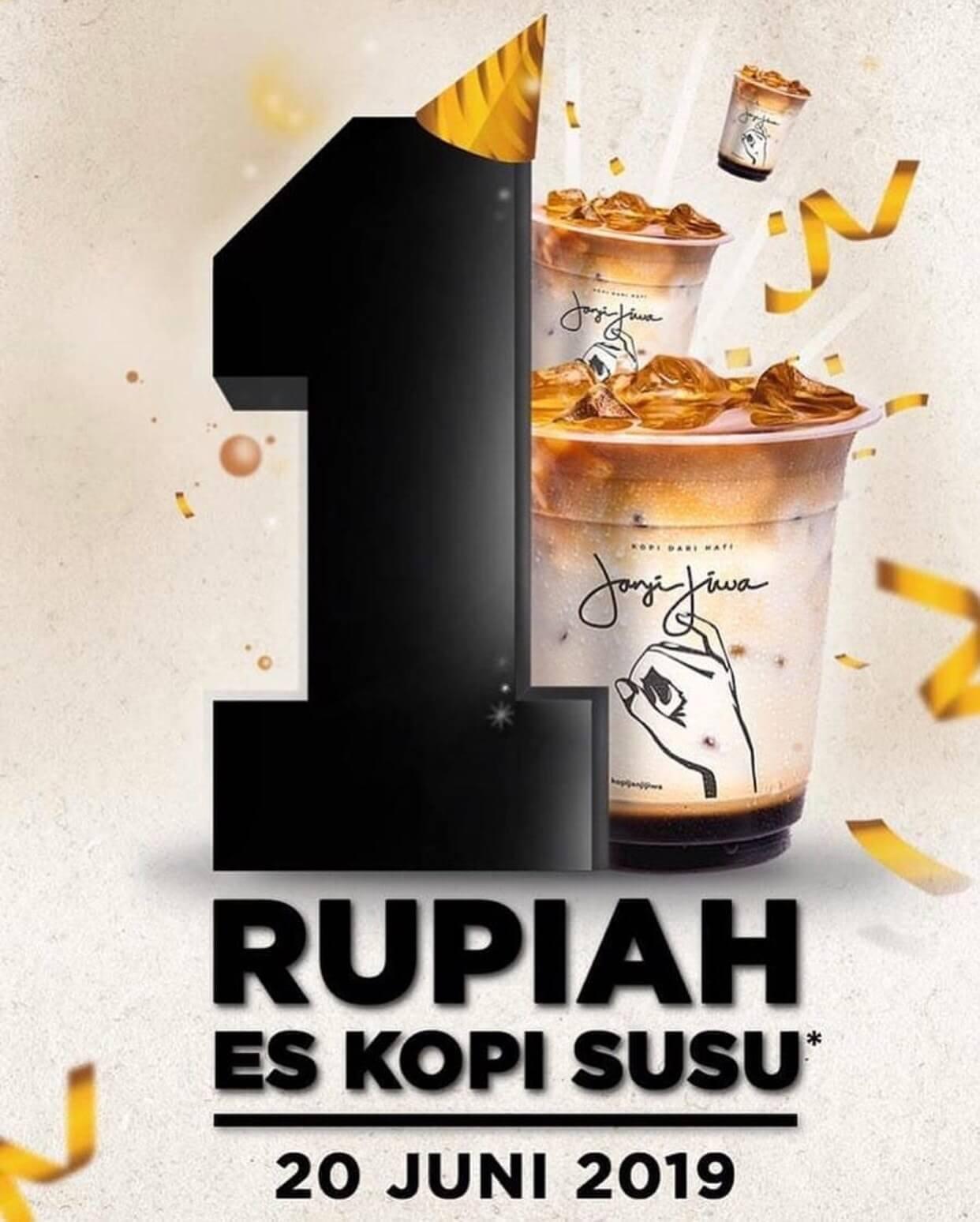 Kopi Janji jiwa 1st ANNIVERSARY PROMO!! Es Kopi Susu Hanya Rp. 1,-*