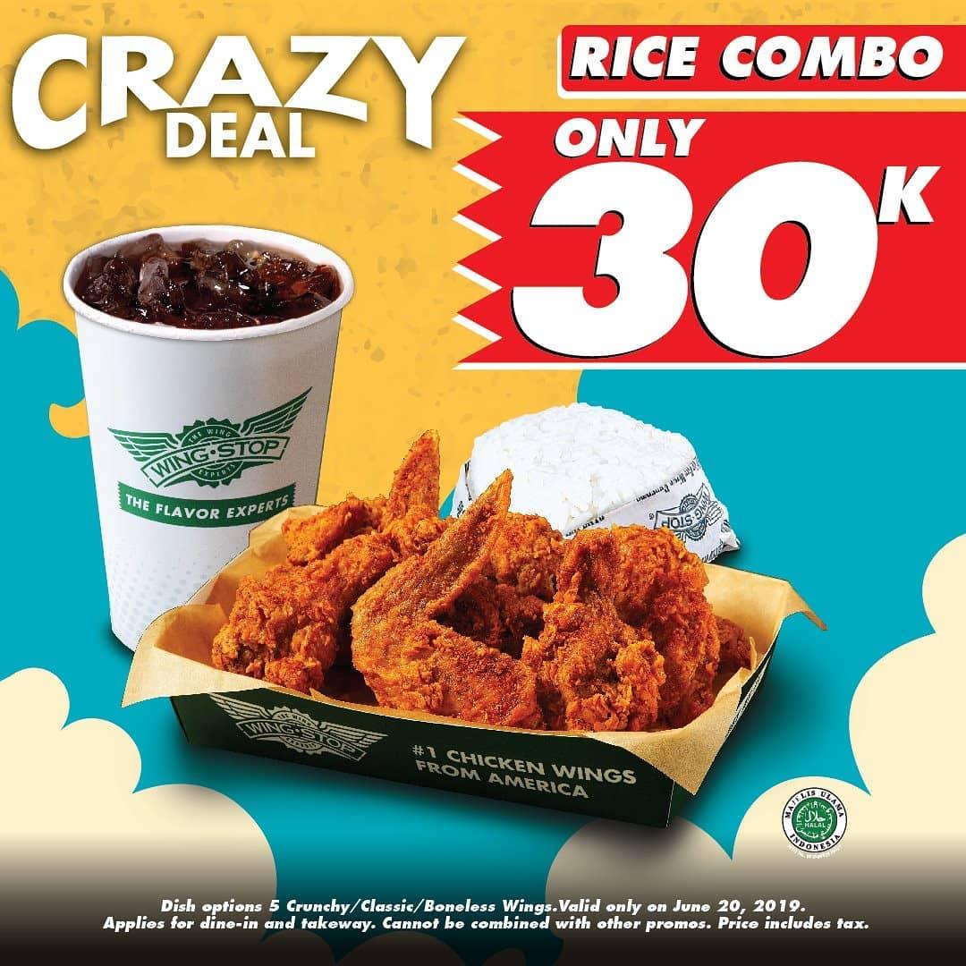 WINGSTOP Rice Combo, Paket Lengkap Hanya Rp. 30.000 saja!