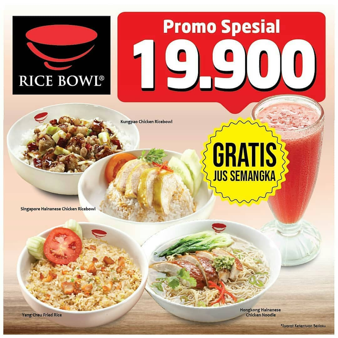 Rice Bowl Promo HARGA SPESIAL untuk Menu Favorit Hanya Rp.19.900 + GRATIS Jus Semangka