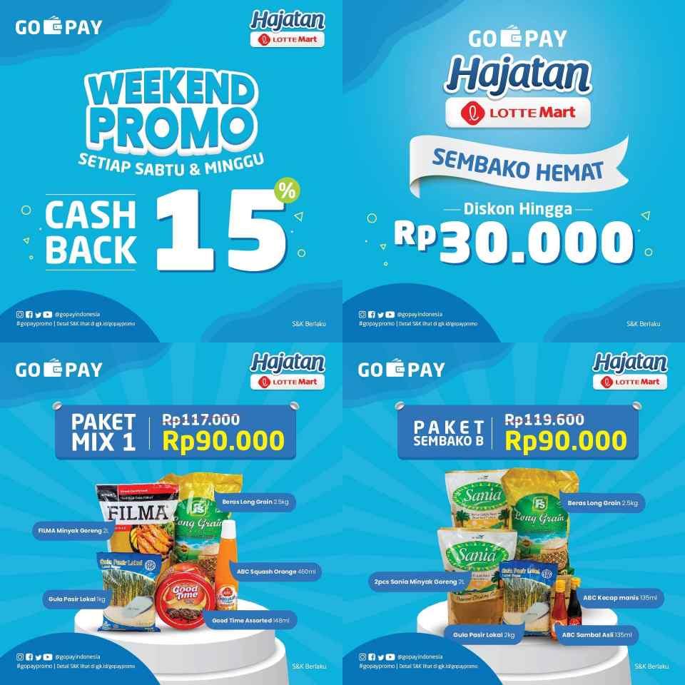 LOTTEMART Promo GOPAY HAJATAN  DISKON hingga Rp. 30.000 dan CASHBACK 15% setiap Akhir Pekan
