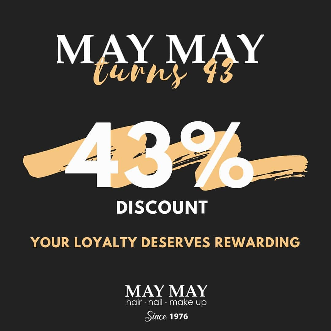 MAY MAY SALON Birthday Promo Discount 43% On All Services