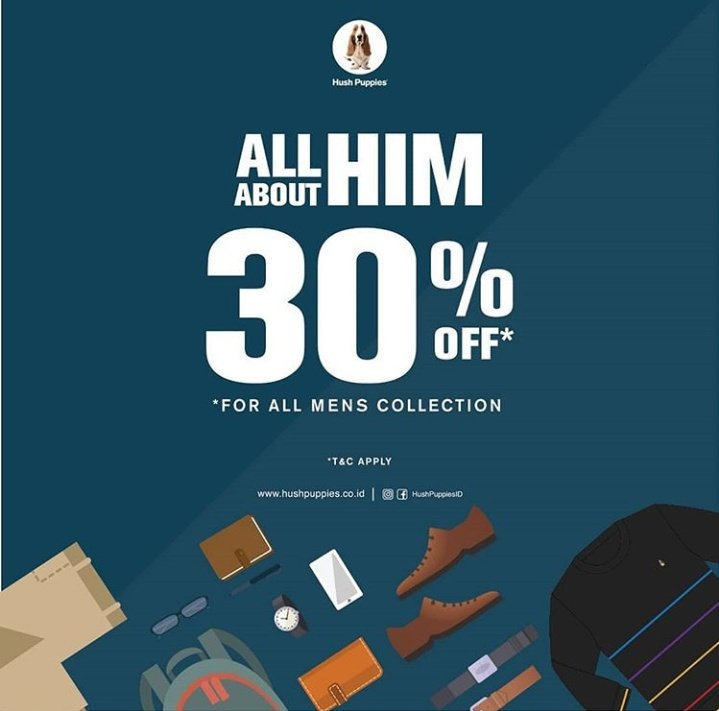 Diskon Hush Puppies Promo All About Him Hingga 30%