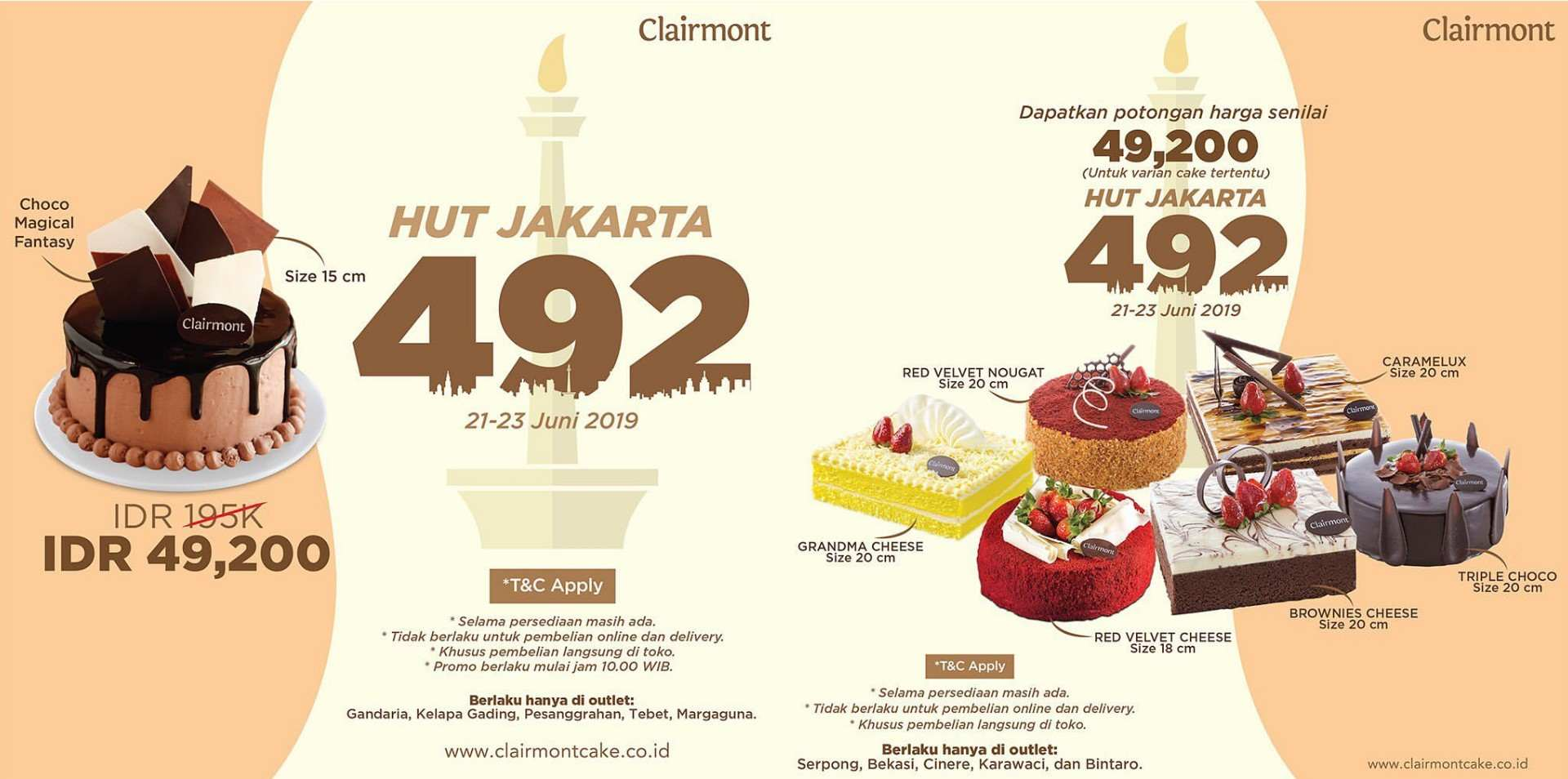 Diskon CLAIRMONT Promo SPESIAL HUT JAKARTA Ke-492