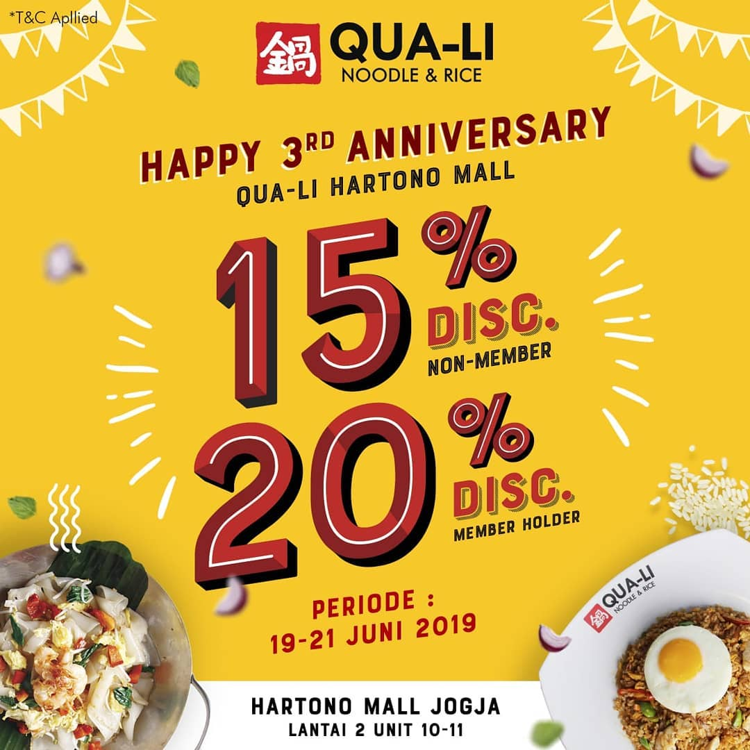 Diskon Qua-Li Noodle & Rice Hartono Mall Jogja Promo 3rd Anniversary Disc Up To 20%