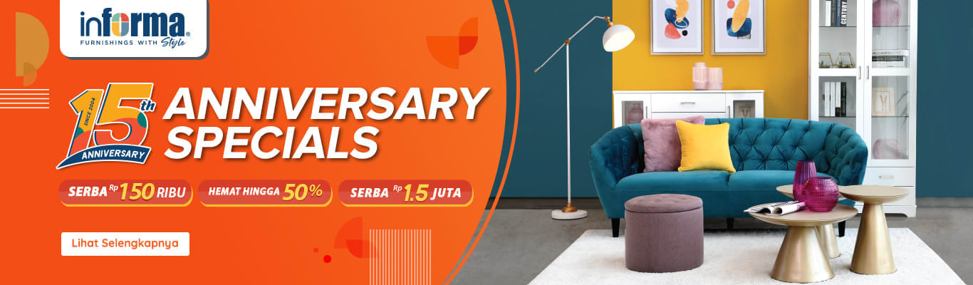 RUPARUPA.COM Promo INFORMA 15th Anniversary Specials! Hemat hingga 50%, Serba Rp 150 Ribu, Serba Rp