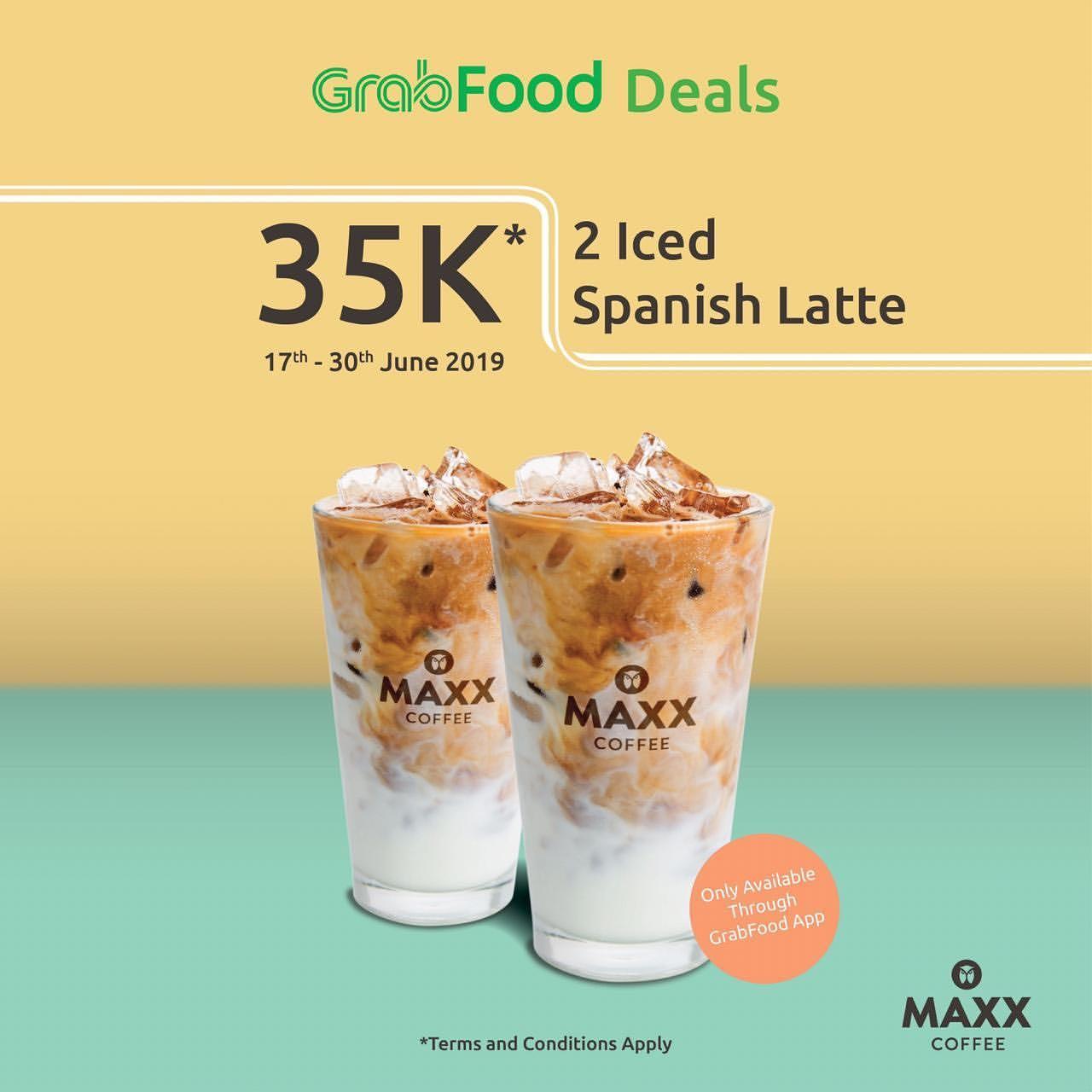 Maxx Coffee Promo HARGA SPESIAL 2 Spanish Latte Hanya Rp.35.000 via GRABFOOD