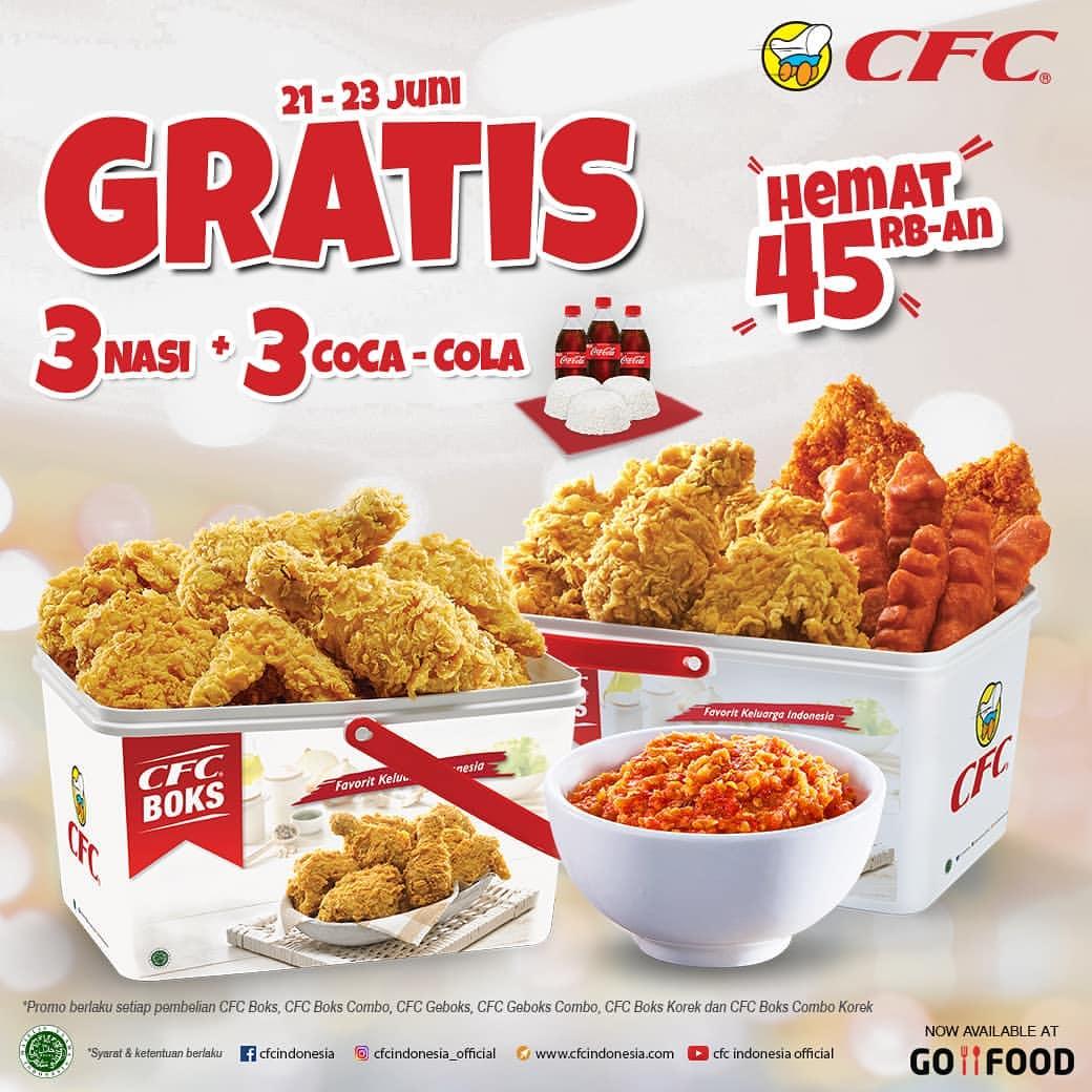 CFC Promo Gratis 3 Coca-Cola + 3 Nasi Setiap Pembelian CFC Boks