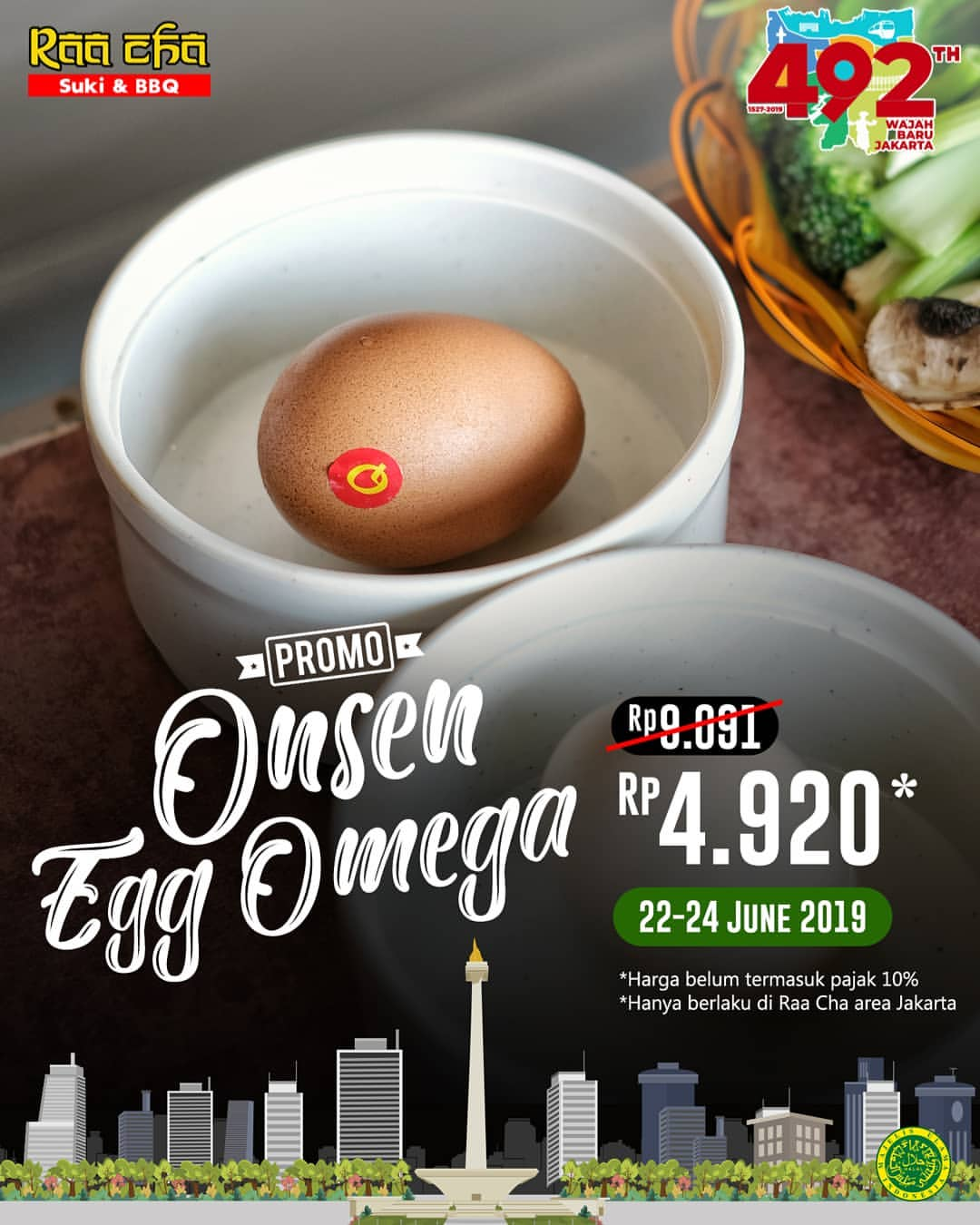 Diskon RAA CHAA Suki & BBQ Promo Harga Spesial Onsen Egg Omega cuma Rp.4.920