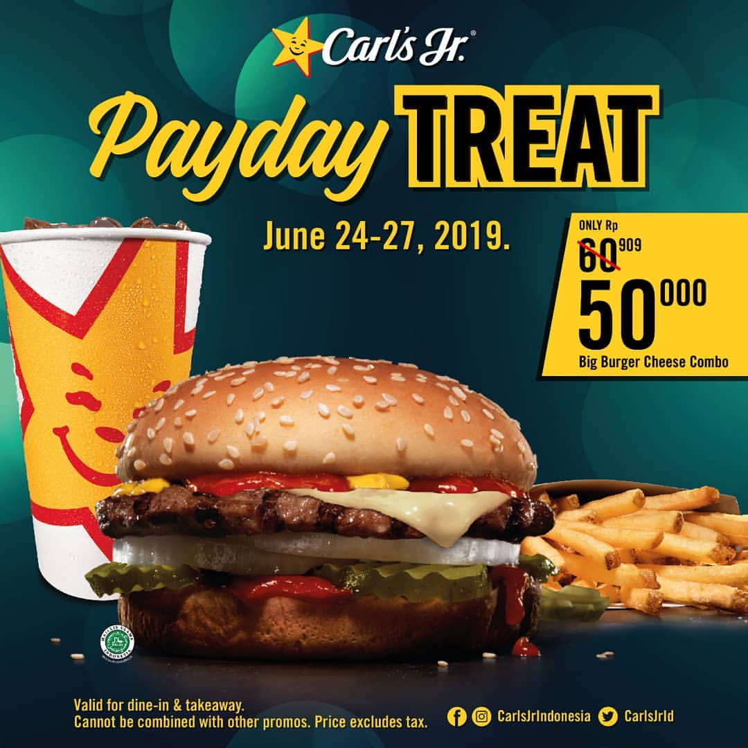 CARLS JR Promo Payday Treat Harga Spesial Big Burger Cheese Combo Hanya Rp.50.000