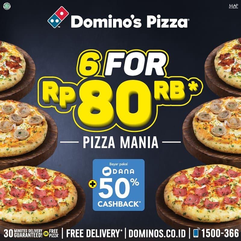 Diskon DOMINO'S PIZZA Promo 6 Personal Pizza Mania Hanya Rp.80.000